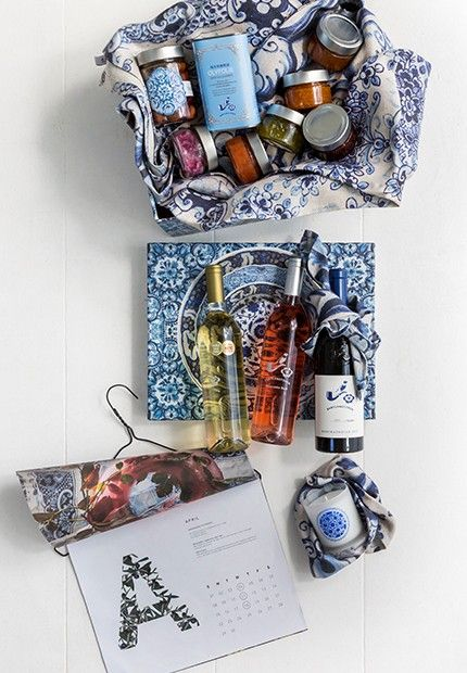 """Wine & Dine Hamper - Don't know how to find the perfect gift? This bounteous hamper won't disappoint. The happy recipient will lift the lid of our signature blue Delft box to discover the very best our farm has to offer. Brimming with all the essentials for the festive season, this hamper inspires sensory celebrations. A good choice to present to a family or the person who """"has everything""""