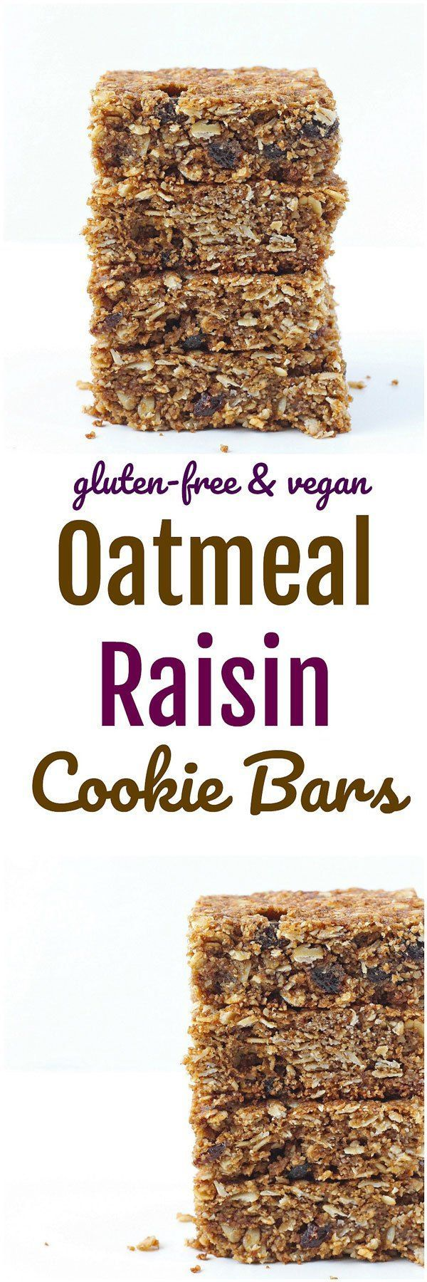 Oatmeal Raisin Cookie Bars - A cross between a cookie and a granola bar, these Oatmeal Raisin Cookie Bars are crispy on the outside yet soft in the middle – just like an oatmeal cookie! Vegan & gluten-free