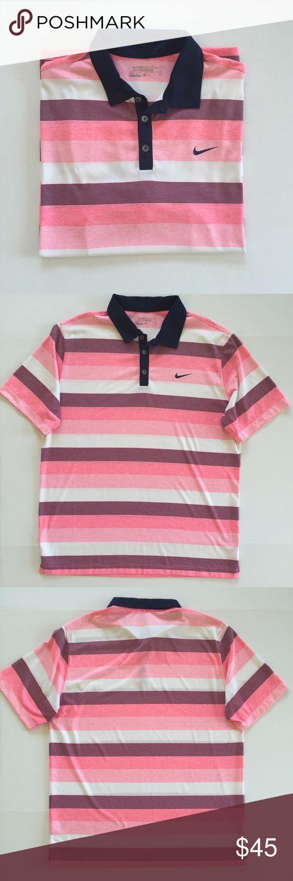 [Nike•Golf] men's short sleeved polo shirt XL [Nike•Golf] men's short sleeved polo shirt XL •🆕listing •excellent condition, work once, looks new •navy blue/pink/white color stripe design •button up collar •material 100% polyester •offers welcomed using the offer feature or bundle for the best discount•••• Nike Shirts Polos