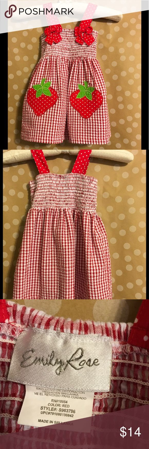 Emily Rose Strawberry Dress Size 2T Emily Rose Girls dress in Very Good Condition. It is a very cute strawberry dress and is a size 2T. Any questions, please ask!   Check out my store and my other listings... Name brand items at great prices! I love offers!! Emily Rose Dresses Casual