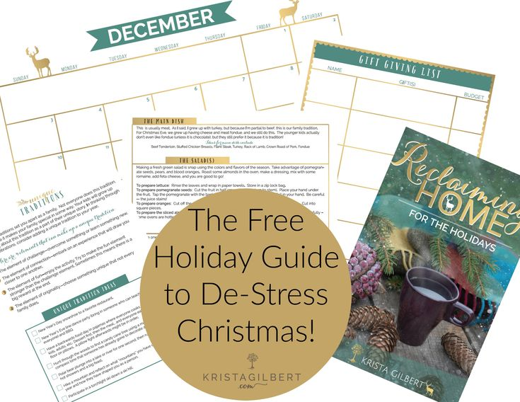 Do you need a holiday planner to de-stress your Christmas season? This will help you plan your food, traditions, gifts, and schedule.   FREE: Christmas Planning Ebook & Printables to De-Stress Christmas - Krista Gilbert