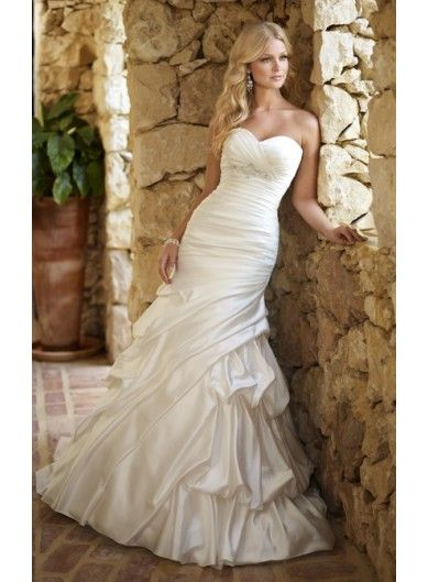 New Taffeta Strapless Sweetheart Mermaid Bridal Gown with Empire Beading - WEDDING DRESSES - Wedding Dress UK