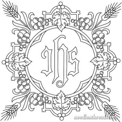 Free Church Embroidery Pattern: IHS with Grapes & Wheat- wouldn't this be cool to embroider onto Madelyn's bodice of her first communion dress???  I'd make it smaller than 8 inches like it comes.