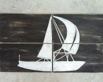 SAILBOAT NAUTICAL SIGN- Reclaimed Wood Nautical Art- Beach House Boat Painting