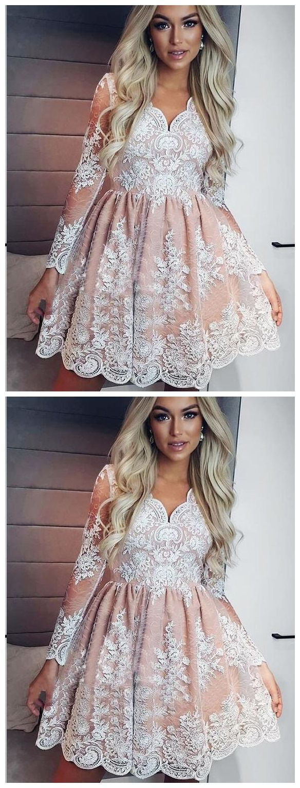 See through long sleeve lace homecoming dresses vintage short prom