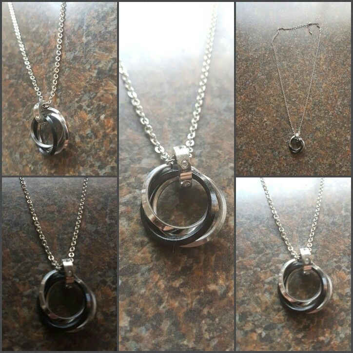 trinity rings necklace with stainless steal chain