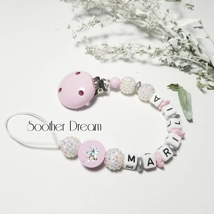 """Pacifier clip +Teether + Toys (@sootherdreamboutique) on Instagram: """"Sparking queen Pacifier clip in light pink. . . . #pacifiertree #pacifierlover #pacifierstrap…"""""""