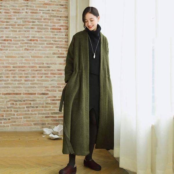 High-End Silk Ribbon Belted Woolen Coat Plus Size Designer Green Overcoat    #overcoat #ribbons #woolen #green #designer #coat #cardigan #plussize #woman