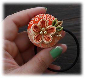 katumi made *つまみ細工の簪(かんざし)髪飾り*つまみ細工のくるみボタンのヘアーゴム