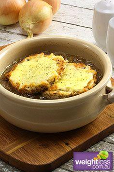 Healthy Soup Recipes: French Onion Soup. #HealthyRecipes #DietRecipes #WeightLoss #WeightlossRecipes weightloss.com.au