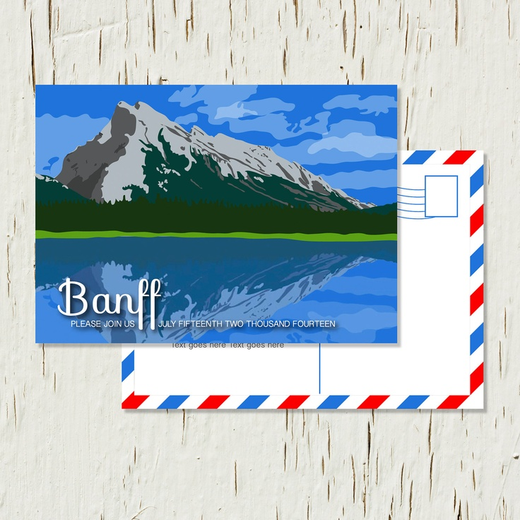 Save the Date Postcard Canadian Rockies Banff Canmore Lake Louise Emerald Lake Moraine Lake - Sample. $2.18, via Etsy.