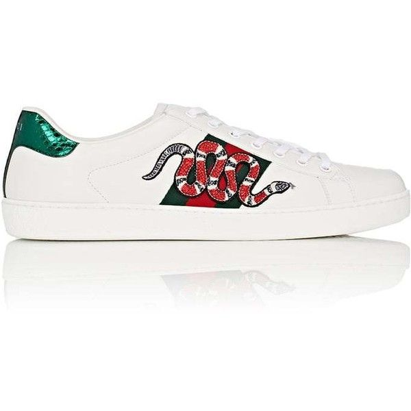 Gucci Men's New Ace Leather Sneakers (895 NZD) ❤ liked on Polyvore featuring men's fashion, men's shoes and men's sneakers