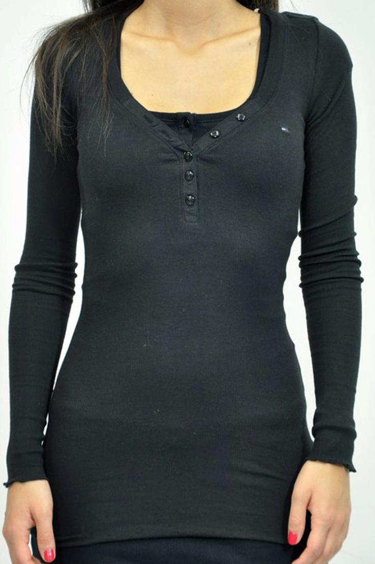 Tommy Hilfiger, t-shirt manica lunga nera con bottoni
