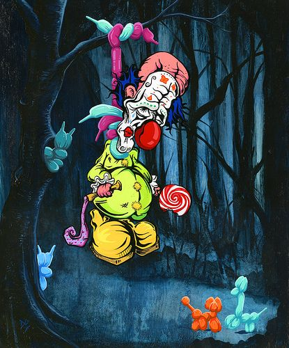 Silly clown got mixed up in a dangerous world where candy is cheap, face paint flows like water, and balloon animals know no bounds. So what really happened here--is this a case of homicide or suicide?