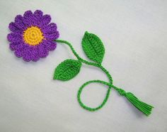 Handmade Crocheted purple daisy flower by shina on Etsy,