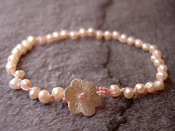 Pink Thread Bracelet Fresh Water Pearls Silver Flower by INOMINOS