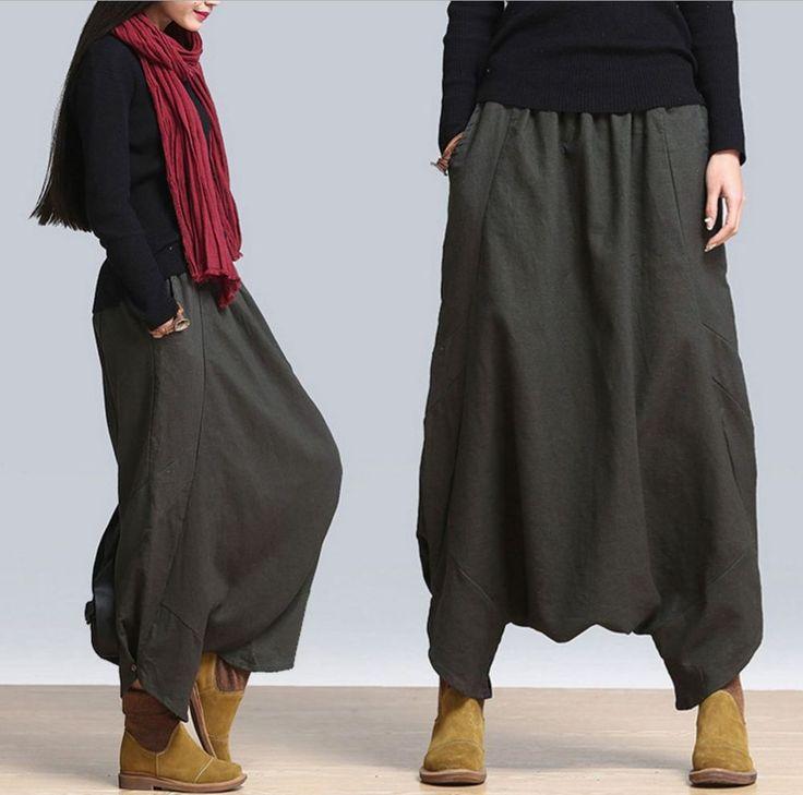 A11 Spring Casual Low Crotch Elastic Waist  Linen Women Harem Skirt Pants Pocket #YFS #Harem