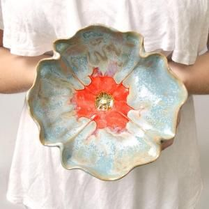 Poppy Bowl stoneware pottery dinnerware bowl Ice Blue and Red hand built pottery by Grandma Sheley