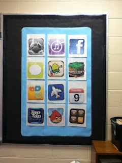 """iPhone Bulletin Board... Each icon opens to reveal a pocket with """"tickets"""" for each activity. The kids pull one of the activities out of the folder. They complete the work, and then return it, with the """"ticket"""" attached, to the FINISHED folder. If the work is done well, the teacher returns the ticket to the student. The tickets were used as a sort of currency in this classroom. They could purchase rewards or have tickets taken away for irresponsibility or bad behavior."""