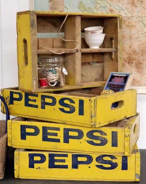 Vintage American Yellow Pepsi Crates