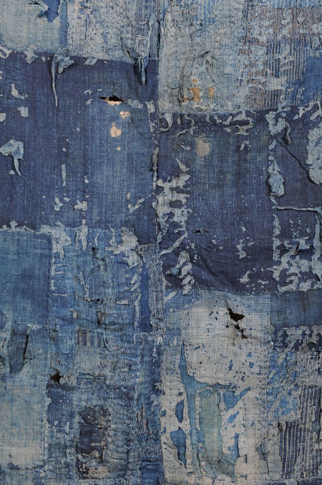 Detail Japanese Boro coat..  Boro textiles were made in the late 19th and early 20th century by impoverished Japanese people from reused indigo-dyed cotton rags. Never intented to be viewed as a thing of beauty they just are amazingly beautiful, patched and sewn piece-by-piece, handed down from generation to generation they became objects of desire because of their beauty , history and soul.