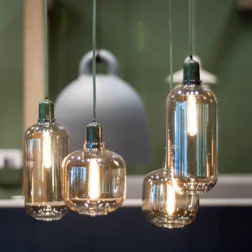 Serie Amp hanglampen small en large in groen en zwart marmer Normann Copenhagen
