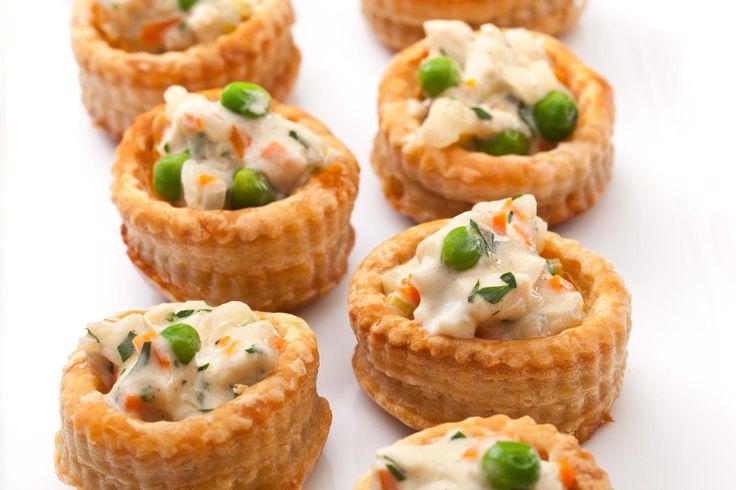 This recipe has the flaky crust, savory sauce, and vegetables found in a classic pot pie, but is served as a tiny party hors d'oeuvre.