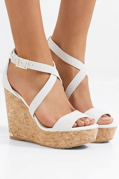 844a4e79605 Wedge heel measures approximately 120mm  5 inches with a 30mm  1 inch  platform Off-white leather (Calf) Buckle-fastening ankle strap Made in Spain