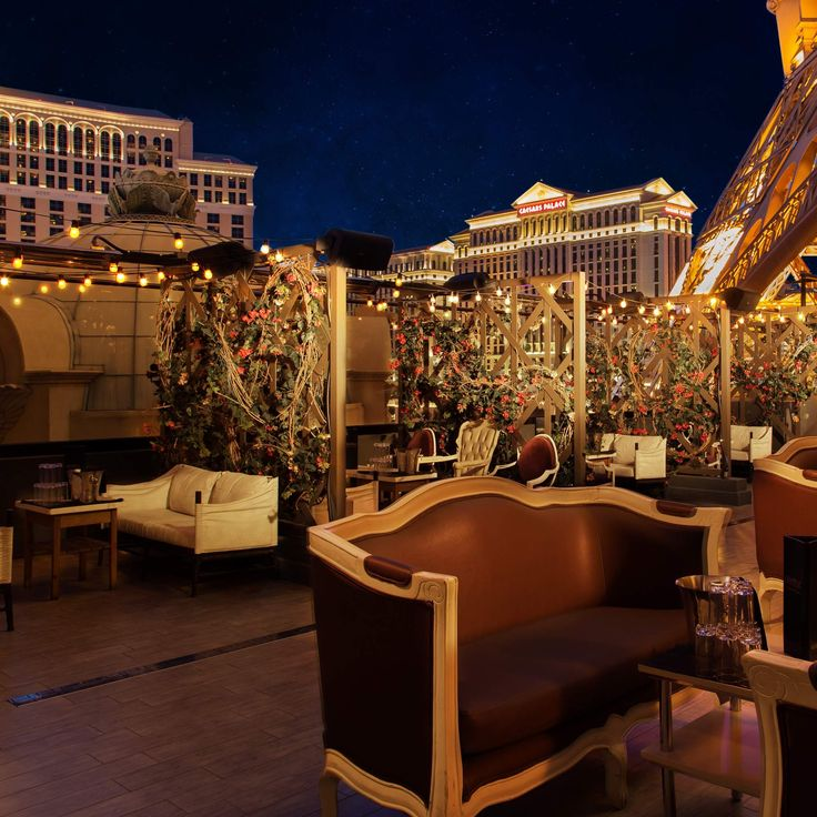 Chateau  Paris Las Vegas The next door neighbor to Beer Park has a totally different atmosphere, with a nightclub and lounge that is popular for the likes of wild bachelorette parties and single guys out on the prowl. The outdoor patio is right underneath the Paris casino's Eiffel Tower replica and comes with second story views of the Bellagio fountains across the street.