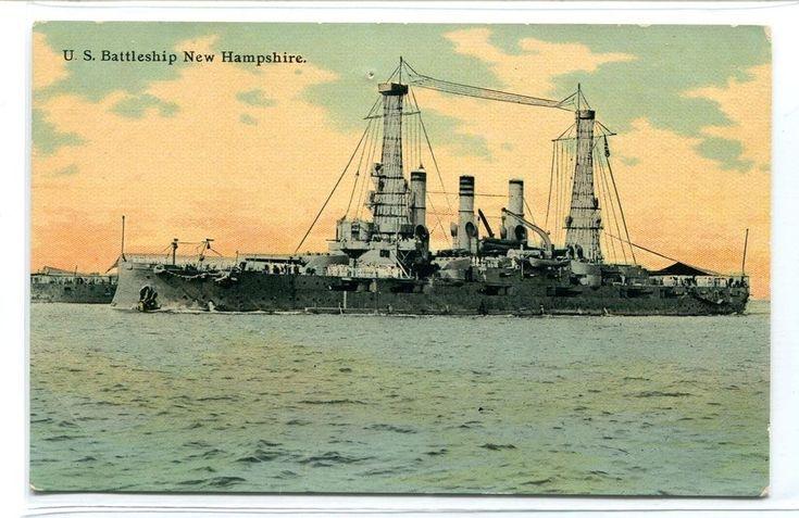 USS New Hampshire US Navy Battleship 1910c postcard