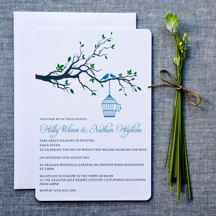 tie the knot wedding invitations etsy%0A bluebirds invite