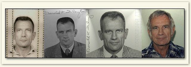 """Donald K. """"Deke"""" Slayton Selected in 1959, Slayton was one of the original seven American astronauts (The Mercury 7).  From left to right:  first official NASA photo ID badge (Project Mercury era, circa 1960).    diplomatic passport photo (circa 1965). This passport was utilized during the Gemini space missions.  Slayton's official government passport which was issued during the Apollo era (circa 1967).  Slayton's post-retirement civilian passport (circa 1987)."""