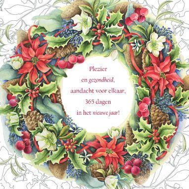 Kerstkaart met krans van hulst, appels en bloemen- Janneke Brinkman
