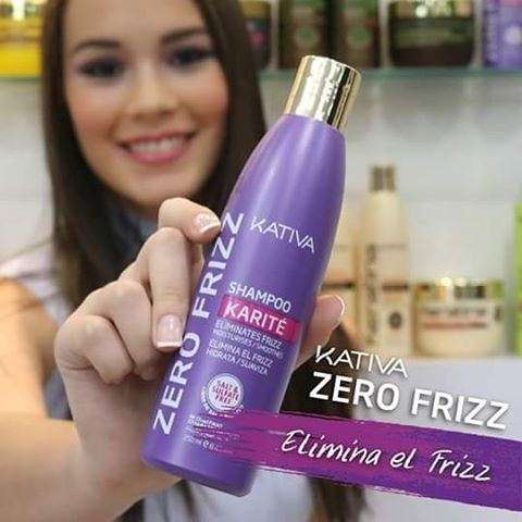 Kativa Zero Frizz Shampoo Σαμπουάν χωρίς προσθήκη θειικού άλατος με βούτυρο καριτέ και υδρολυμένη κερατίνη που καθαρίζει και θρέφει τα μαλλιά. Κατάλληλο για κατσαρά ή σπαστά μαλλιά .