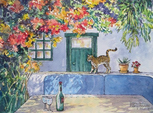 DEC 14 CHALLENGE 3 - Cafe Garden. Gill Farquharson's rendition in pen and wash created a lovely cheerful, summery scene.