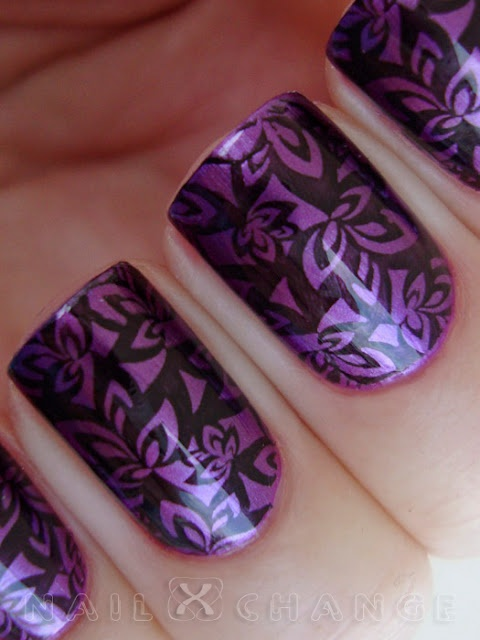 Great purple design | Stamped Nail Designs | Pinterest ...