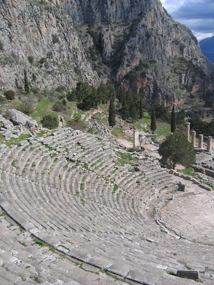 The Archaeological Site of Ancient Delphi (Δελφοί) -A spectacular photo of the Theatre at Delphi (Δελφοί) which has 35 rows and can seat approximately 5,000 spectators. Even though it has still retained its grandeur, we can only imagine what it must have looked like when it was originally built in the 4th century BC! Συλλογές - Google+