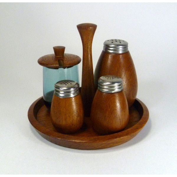 Scandinavian Spice Condiment Set Karl Holmberg Teak Mid Century Modern ($46) ❤ liked on Polyvore featuring home, kitchen & dining and serveware