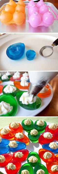 Vanilla Cream Jello Easter Eggs -- what a fun Easter treat! The sweet cream cheese filling sounds amazing.