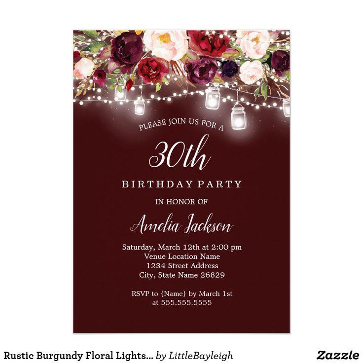 Rustic Burgundy Floral Lights 30th Birthday Card