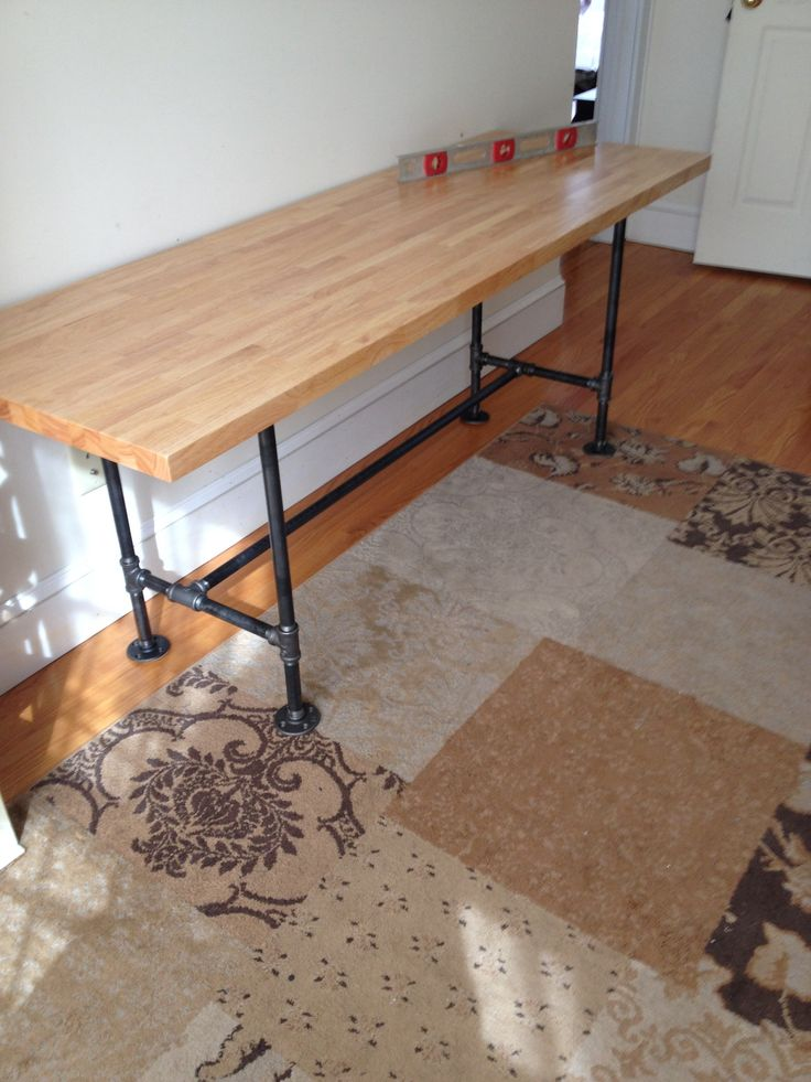 6 foot diy pipe table with butcher block pipe from home depot top from sears super easy and - Home depot butcher block wood ...