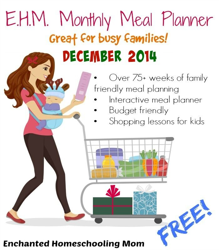 Come enjoy the monthly meal planner for December 2014 that is full of breakfast, lunch, snack and dinner options and comes packed with recipes, ingredient lists, and more, all in one easy to use place, complete with a full Christmas Meal and Dessert Menu too!