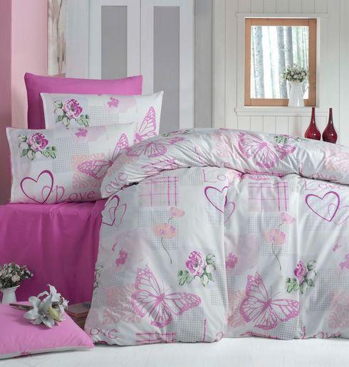 Lenjerie de pat din bumbac Valentini Bianco VKR10 Love Butterflies