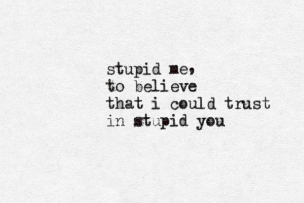 Stupid me to believe that I could trust in stupid you.