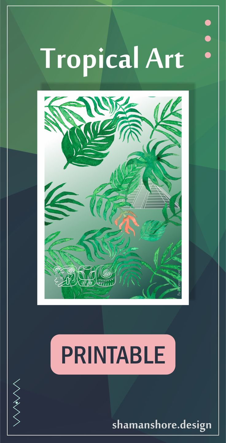 Tropical Décor Amazon Forest Illustration, Tropical Forest Artwork, Tropical Room Décor Rain Forest Theme, Tropical Wall Art Printable, Living Room, Bedroom, Amazon Forest Mayan Art Print Digital Download