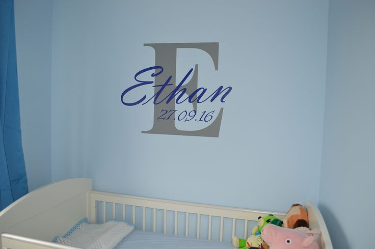 Customer requested nursery wall monogram baby wall sticker - Designed, manufactured and fitted by Aspect Wall Art (This particular design is not available on our website but custom requests can be made via our contact page)