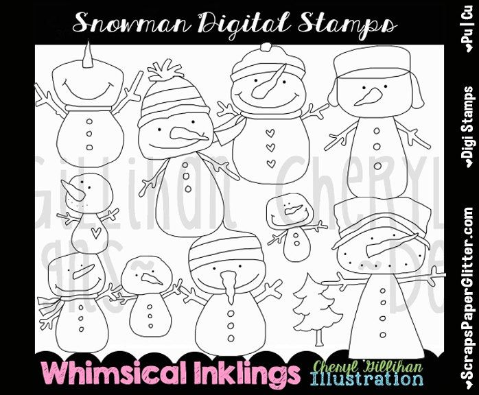 Snowman Digital Stamps, Black & White Image, Graphic, Commercial Use, Instant Download, Line Art, Snowmen, Christmas, Winter, Snowball, Snow by ResellerClipArt on Etsy