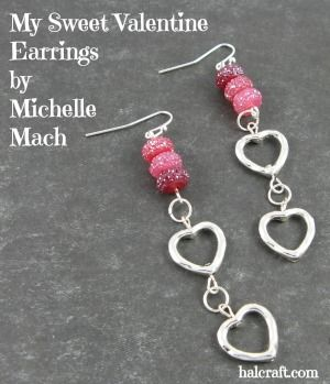 Sweet Valentine Earrings by Michelle Mach made using #BeadGallery beads from @michaelsstores for Halcraft's #PrettyPalettes blog hop