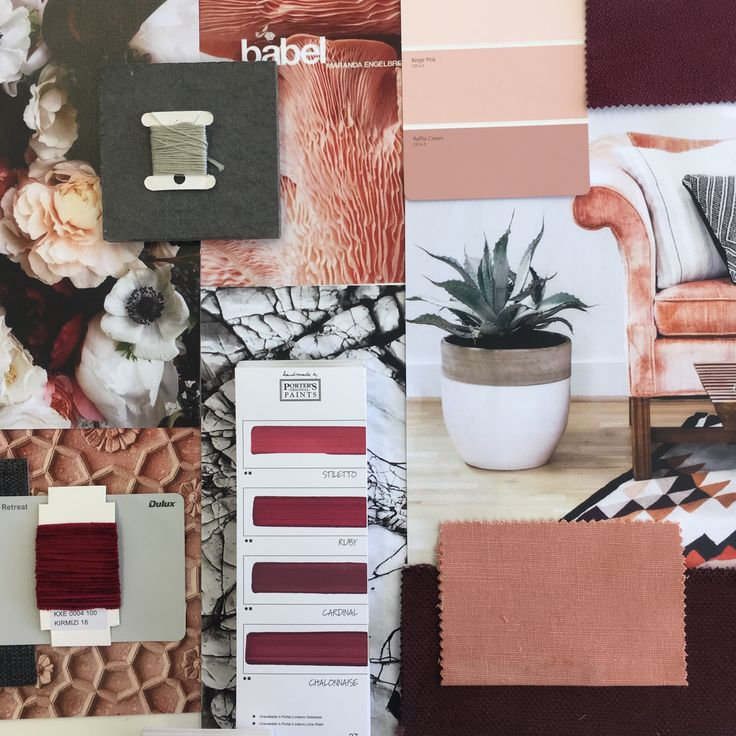 Pink and Berry moodboard created in the studio