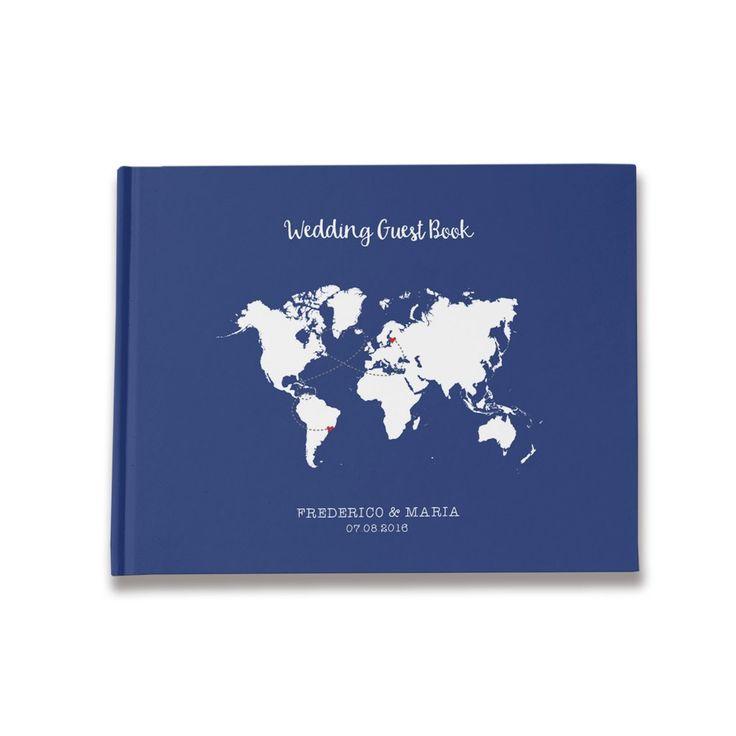 Map Navy Wedding Guest Book